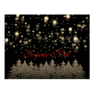 Joyeux Noël Gold Starry Night Snowfall Trees Postcard