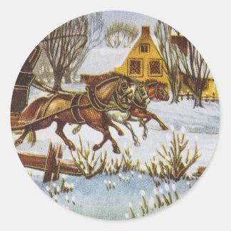 Joyeux Noel - Merry Christmas Vintage Horses Classic Round Sticker