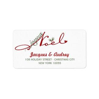 Joyeux Noel Mistletoe Holiday Address Labels