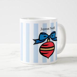 Joyeux Noël Red Christmas Ornament Mug Blue