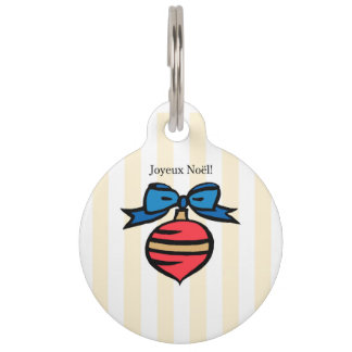 Joyeux Noël Red Christmas Ornament Pet Tag Yellow
