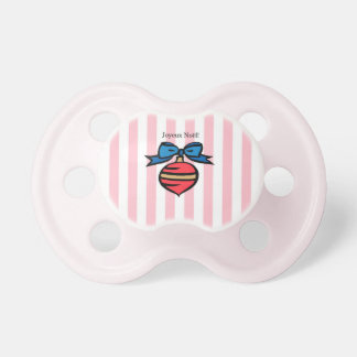 Joyeux Noël Red Ornament Baby Pacifier Pink 3