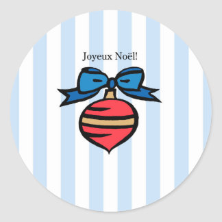 Joyeux Noël Red Ornament Glossy Round Sticker