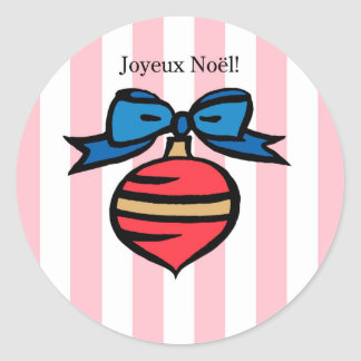 Joyeux Noël Red Ornament Round Sticker Pink 2