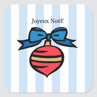 Joyeux Noël Red Ornament Square Sticker Blue