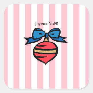 Joyeux Noël Red Ornament Square Sticker Pink