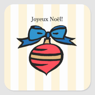 Joyeux Noël Red Ornament Square Sticker Yellow