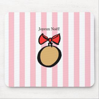 Joyeux Noël Round Gold Christmas Ornament Pink Mouse Pad