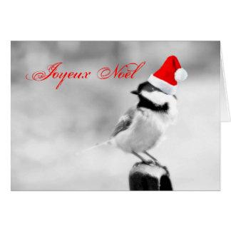 Joyeux Noël Santa Chickadee Card
