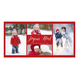 Joyeux Noel Script Modern Photo Collage Card Photo Greeting Card