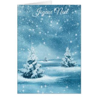"""Joyeux Noel"" snowy trees Chrstmas card"