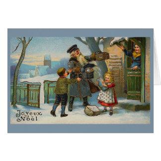 """Joyeux Noel Vintage Christmas Card"" Card"
