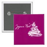 Joyeux Noël with Christmas Tree 15 Cm Square Badge