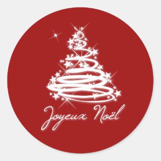 Joyeux Noël with Christmas Tree Classic Round Sticker