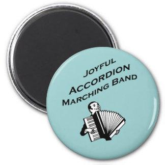 Joyful Accordion Marching Band 6 Cm Round Magnet