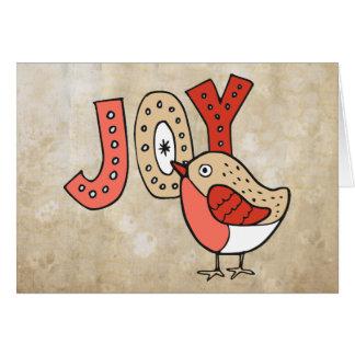 Joyful Bird Rustic Christmas Card