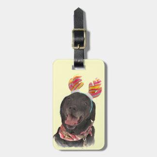 Joyful Black Labrador Retriever Dog Luggage Tag