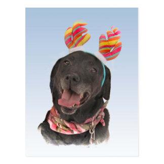 Joyful Black Labrador Retriever Dog Postcard