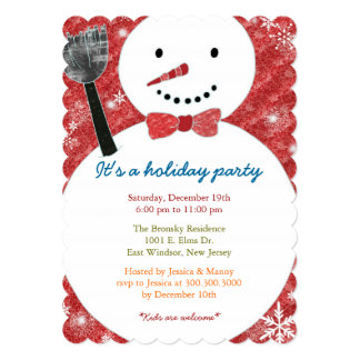 Joyful Bow Tie Snowman Holiday Party Invitation