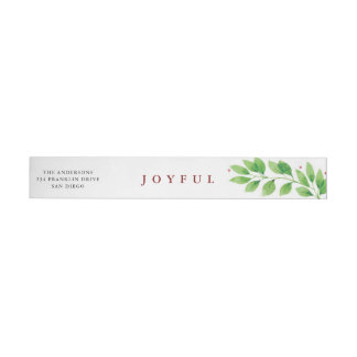 Joyful Branches Christmas Wraparound Label
