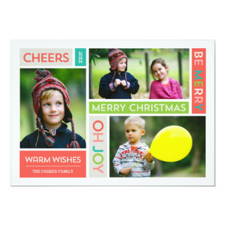 Joyful & Bright Holiday Photo Card Custom Invites