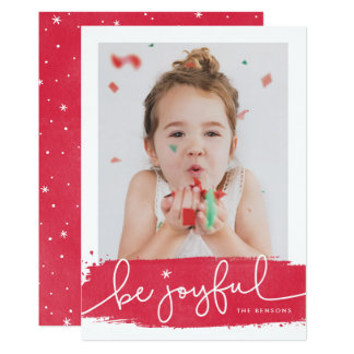 Joyful Brushstroke Holiday Photo Card