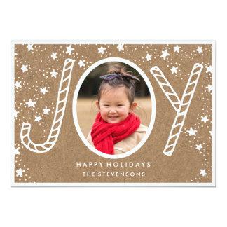 Joyful Candy Cane   Rustic Kraft Holiday Card