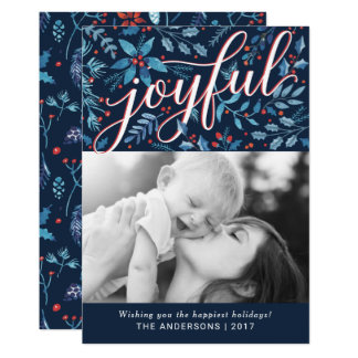 Joyful Christmas Watercolor Foliage Holiday Photo Card