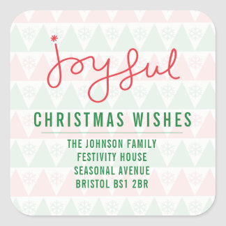 Joyful Christmas Wishes Square Sticker