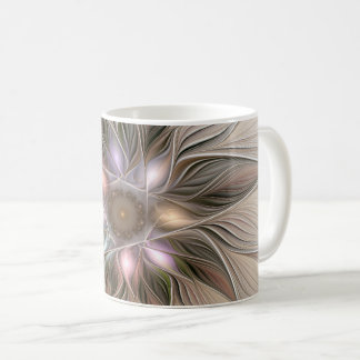 Joyful Flower Abstract Beige Brown Floral Fractal Coffee Mug