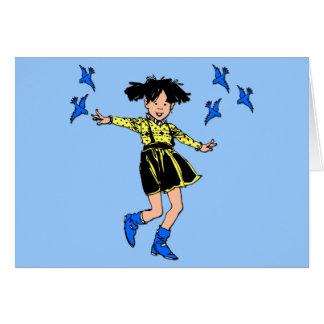 Joyful girl with bluebirds note card