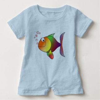 Joyful Goldfish in Sea Baby Bodysuit