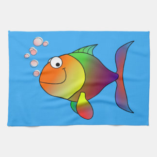 Joyful Goldfish in Sea, Light Blue Tea Towel