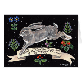 Joyful Good Luck Rabbit Blank Greeting Card