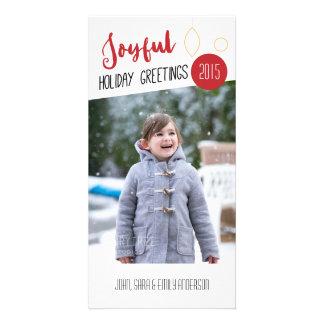 Joyful Greetings, White Background Photo Christmas Customised Photo Card