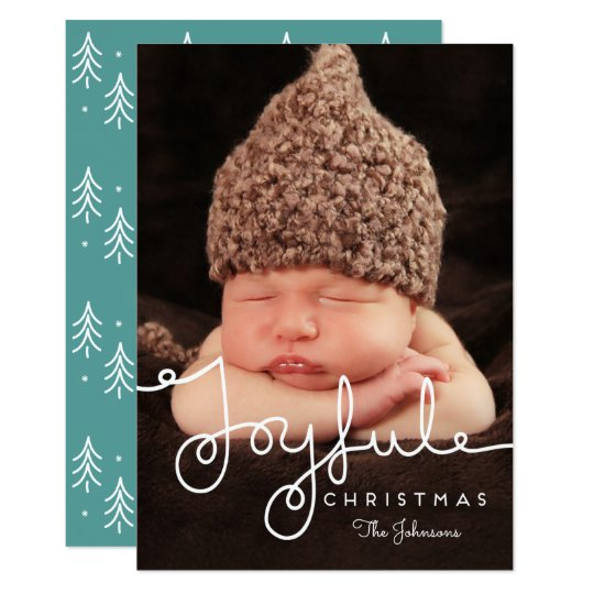 Joyful Hand Lettered Christmas Holiday Photo Card