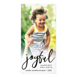Joyful Happiest Christmas Holidays Custom Photo Card