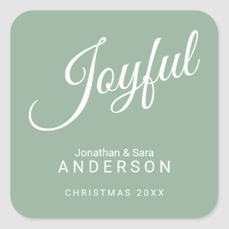 Joyful, Happiest Holidays, Personalized Square Sticker