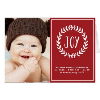Joyful Hearts | Folded Holiday Birth Announcement Greeting Card