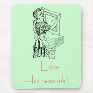 Joyful housewife mouse pad