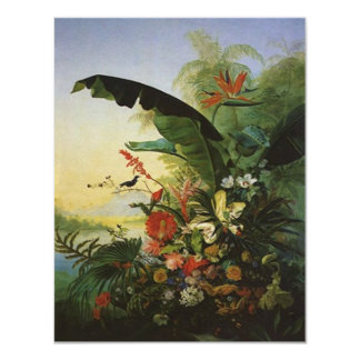 "JOYFUL INVITE w/ BIRDS OF PARADISE ~EZ2 CUSTOMIZE 4.25"" X 5.5"" Invitation Card"