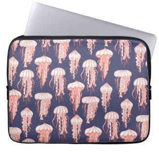 Joyful Jellyfish Laptop Sleeve Deep Blue Purple