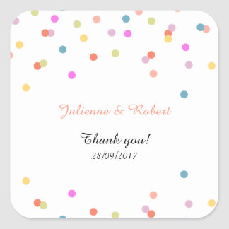 Joyful | Modern Confetti Wedding Favor Sticker