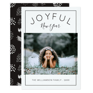 Joyful New Year Photo Card | Black