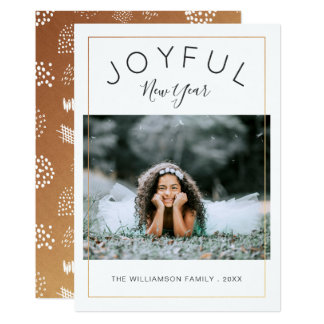 Joyful New Year Photo Card | Gold