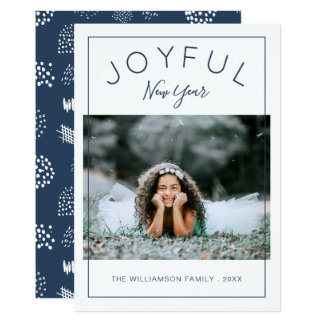 Joyful New Year Photo Card | Navy Blue