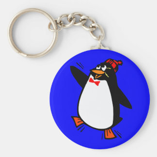 Joyful Penguin in Hat and Bow Tie Basic Round Button Key Ring