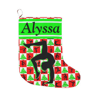 JOYFUL PERSONALIZE GYMNAST GIRL CHRISTMAS STOCKING