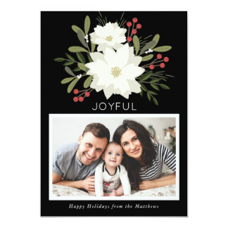 Joyful Poinsettia - Christmas photo card