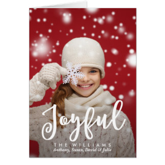 Joyful Script Modern Christmas | Holiday Photo Card